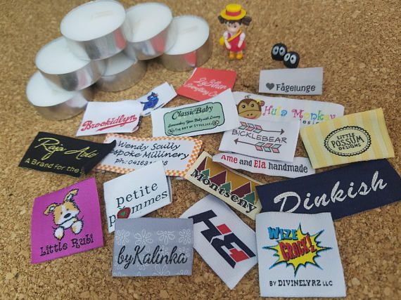 Personalized woven labels 200pcs artwork hemtags for coats