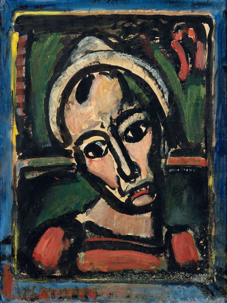 GEORGES ROUAULT (1871 Paris 1958) Qui ne se grime pas? II. / Le clown tragique. 1939. Oil on paper laid on canvas. 64 x 48 cm.