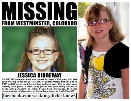 AMBER ALERT: Jessica Ridgeway, missing since 10.5.12 in Colorado.Please repin on your boards w/most followers