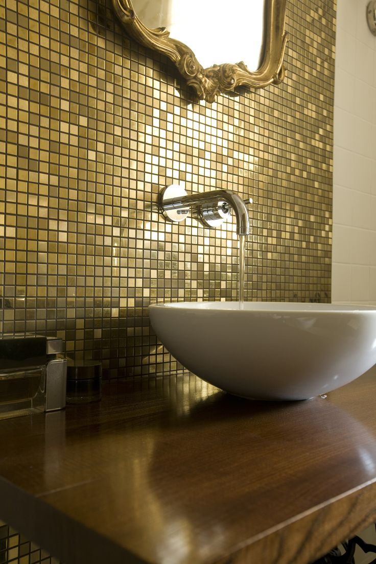Gold Bathroom With Golden Mosaic Antique Frame Mirror
