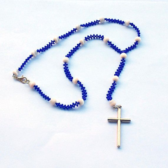 Royal Blue Rosary Necklace, Seed Beads, Cat's Eye Glass Beads, Gold Toned Metal Cross, Right Angle Weave, Christian, Catholic, Baptism Gift