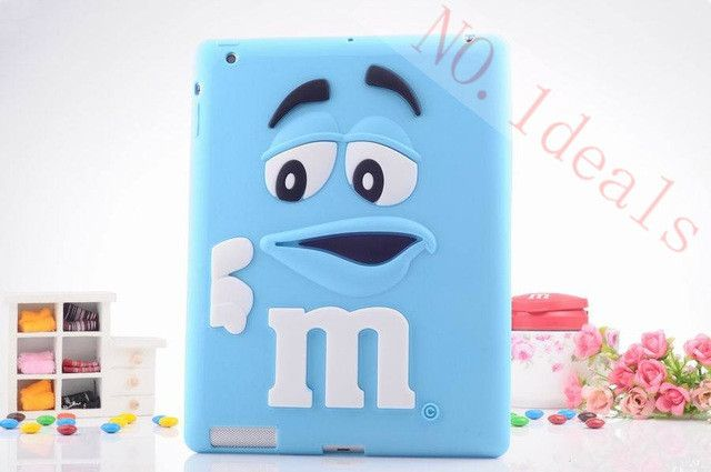 Free shipping case for ipad4 tablet accessories fashion cartoon wit MM rainbow beans silicone case cover for apple ipad2 / ipad3