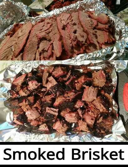 Two 10 pound beef briskets, we smoked the whole briskets (flats with points attached) for 12 hrs, @ 225°, using a mixture of hickory and pecan wood chips. After 12 hrs we separated the points from the flats, and refrigerated the flats for slicing the next day, and returned the points to the smoker for another 6 hrs, turning the electric smoker up 260°... Then chopped the points into burnt ends←bottom pic, and and sliced the flats←top pic.