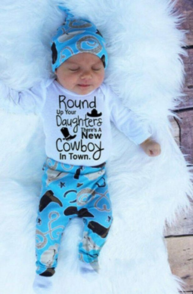 Newborn Infant Baby Girl Boy Romper+Long Pants Cowboy Hat 3pcs Outfit Set Clothe