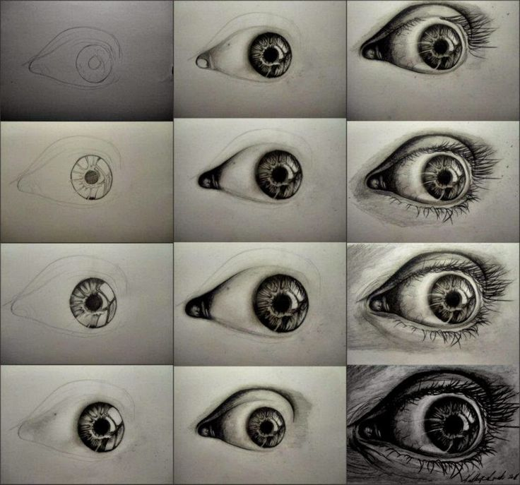 Steps to draw a realistic eye wiht charcoal
