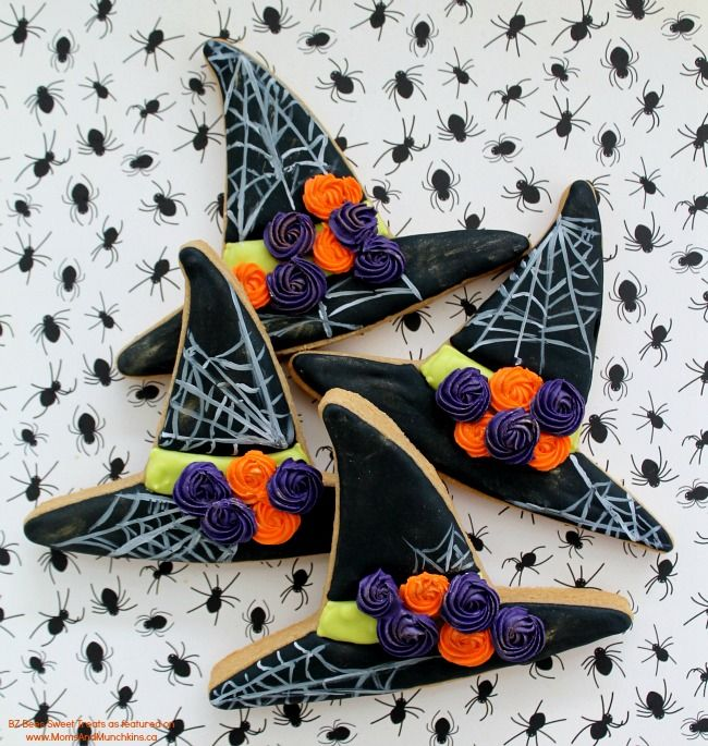 Witch Hat Cookies Tutorial - Halloween cookie decorating ideas.
