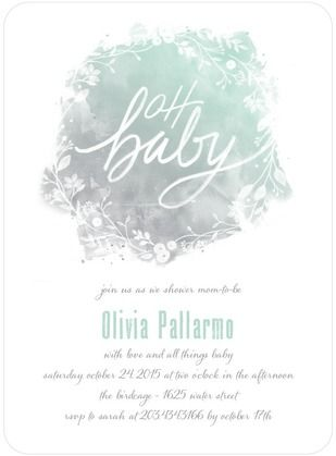 Frosted Wreath - Baby Shower Invitations - Lady Jae Designs - Sea Glass - Green : Front