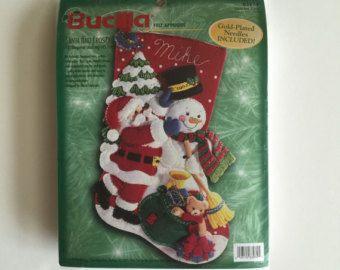 Bucilla Felt Christmas Stocking Kit - Santa and Frosty - Unopened