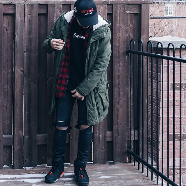 OFF THE GRID cap - with Antisocial Social Club Flannel, jumpan23 kicks, and H&M jeans