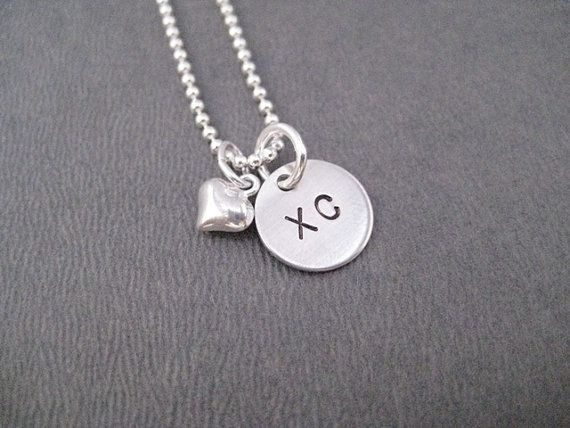 LOVE XC Puffed Heart Sterling Silver Cross Country Running