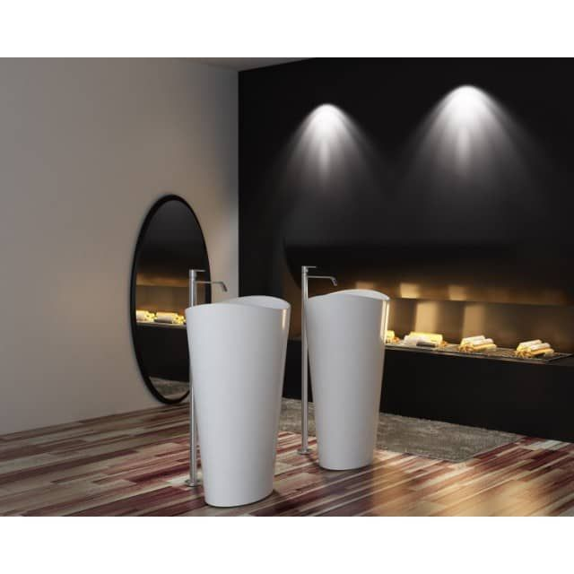 Lavabo colonne totem PB2175 - 60 x 37 x 90 cm - blanc - Solid Stone - bernstein-badshop-com