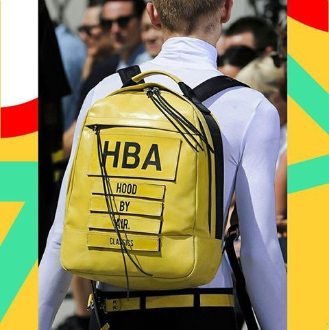 Simple forms, clear lines, pure functionality, and a splash of sunshine in this SS16 Hood by Air classics.  Picture taken from the www.gq.ru  #hba #hoodbyair #backpack #leatherbackpack #yellow #streetwear #urbanstyle #streetstyle #fashion #ss16 #denialofentry