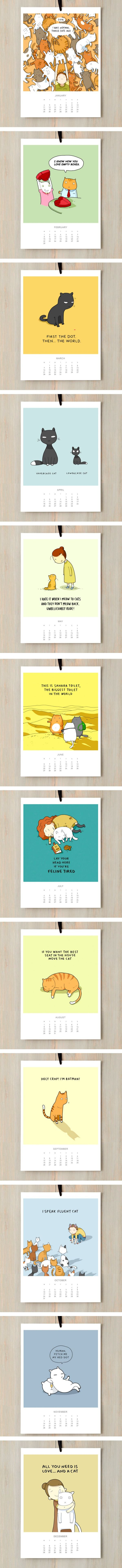 A Cat Calendar To Make You Smile All Year Round In 2016 (By Lingvistov)