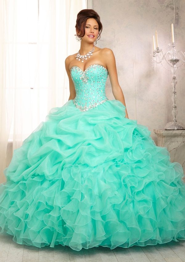 fusha and mint green weddings | Dress Style 88083 Crystal Beaded Bodice on a Ruffled Organza Skirt