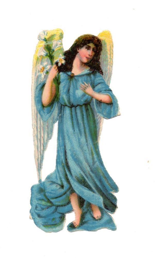 Alte Oblaten Glanzbilder Scraps Engel mit Lilie 12cm ...