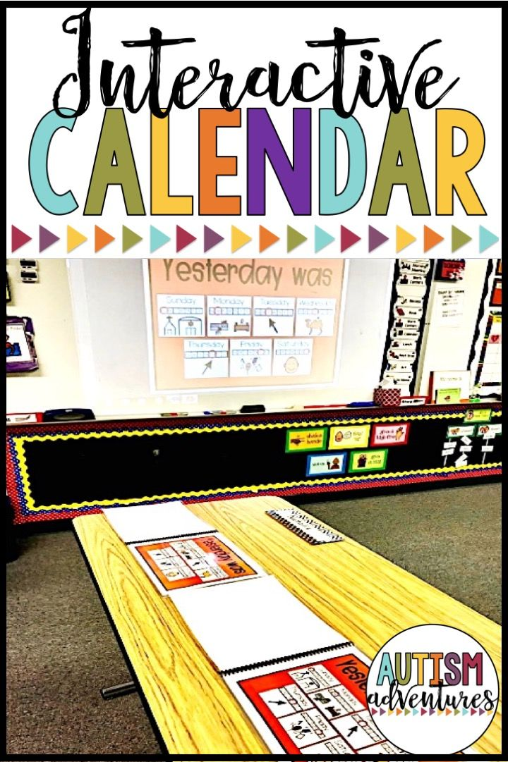 Smartboard calendar for the classroom.  Interactive calendar activities for students with special needs and autism