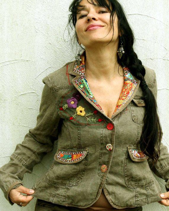 Folk reciclado appliqued chaqueta de lino por jamfashion en Etsy