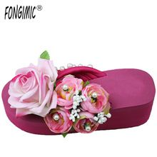 New Style women summer handmade flowers ladies fashion non-slip comfortable wedges all-mach Slippers flip flops shoes