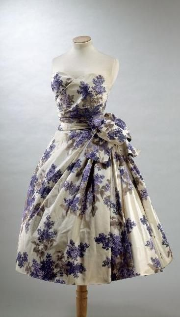 1955 taffeta heather print dress  by Christian Dior