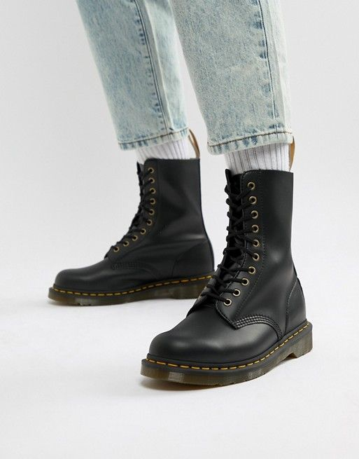 0e67383ae672 Dr Martens vegan 1490 10-eye boots in black in 2019 | Beau's boots | Doc  martens outfit, Dr martens outfit, Doc martens boots