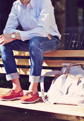 : Men Clothing, Boats Shoes, Boat Shoes, Summer Style, Red Shoes, Men Style, Menstyle, Men Fashion, Cuffed Jeans