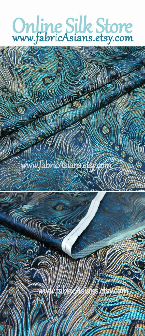 Peacock feather silk fabric. Green silk brocade by fabricAsians on Etsy ☆ Visit us! Get 15% OFF Coupon Code ☆