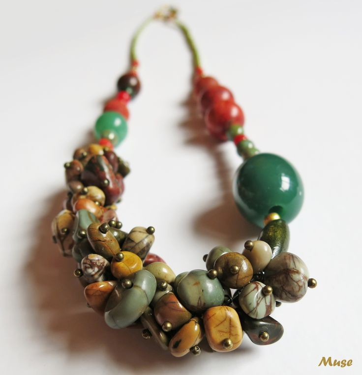 Travel Light - Muse Unique Handmade Jewelry (Picasso Jasper, Coral and Jade)