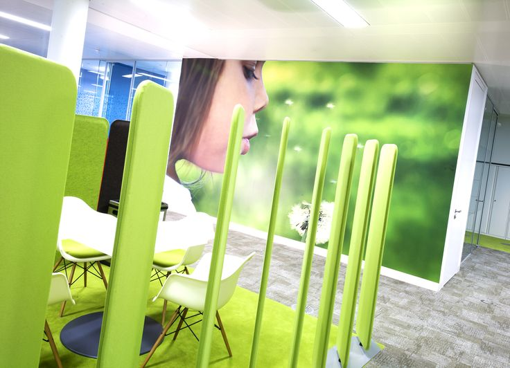 Astellas breakout area with environmental wallpaper graphics
