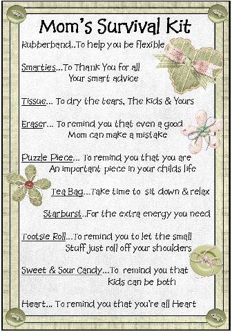 new mommy survival kit - Google Search