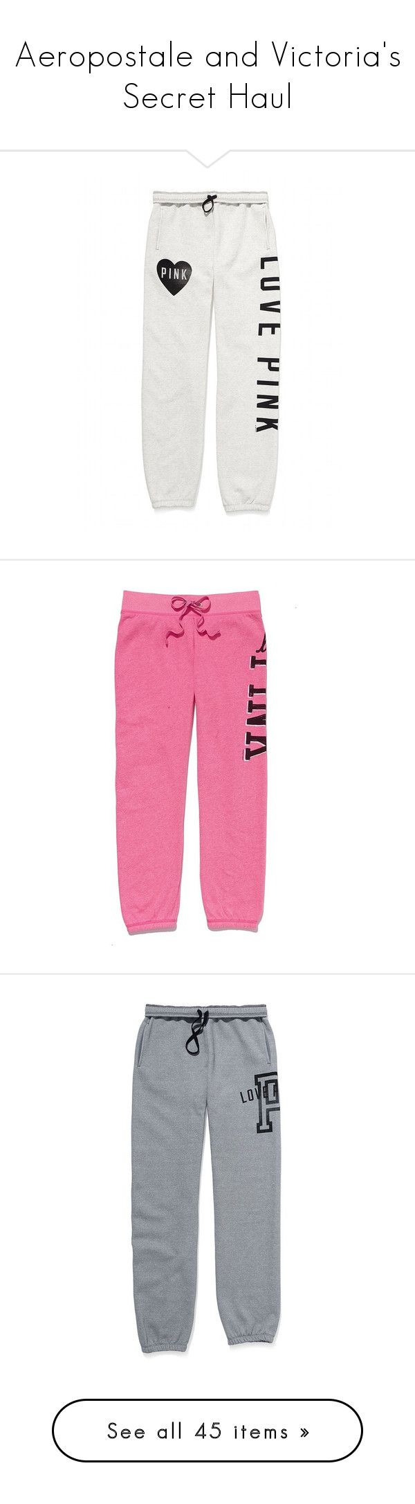 """""""Aeropostale and Victoria's Secret Haul"""" by amyfashion ❤ liked on Polyvore featuring activewear, activewear pants, pants, bottoms, sweatpants, sweats, pajamas, victoria secret activewear, victoria's secret and heavy sweat pants"""