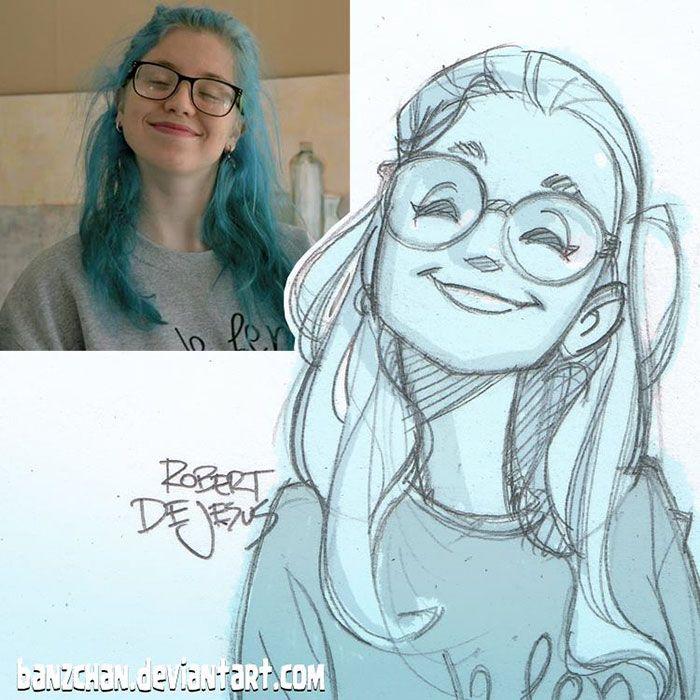 Robert DeJesus aka Banzchan est un illustrateur américain qui transforme les photos d'inconnus en cartoon.
