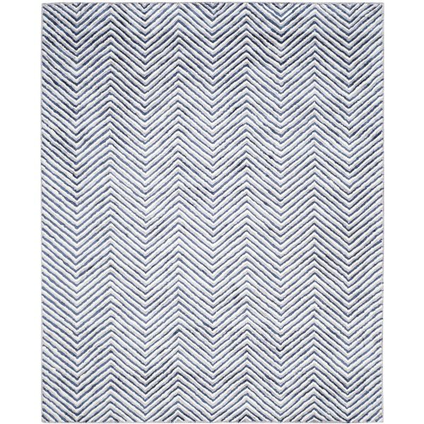 Safavieh Hand-Tufted Soho Ivory/ Navy N.Z. Wool Rug (8' x 10')
