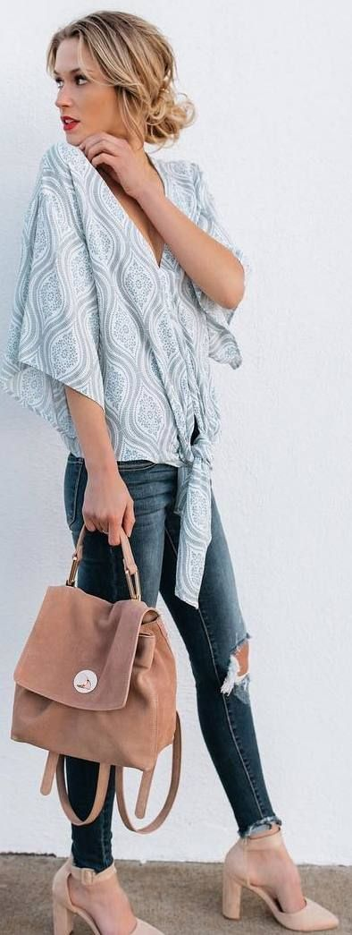 #winter #outfits pastel top,riped jeans, heels