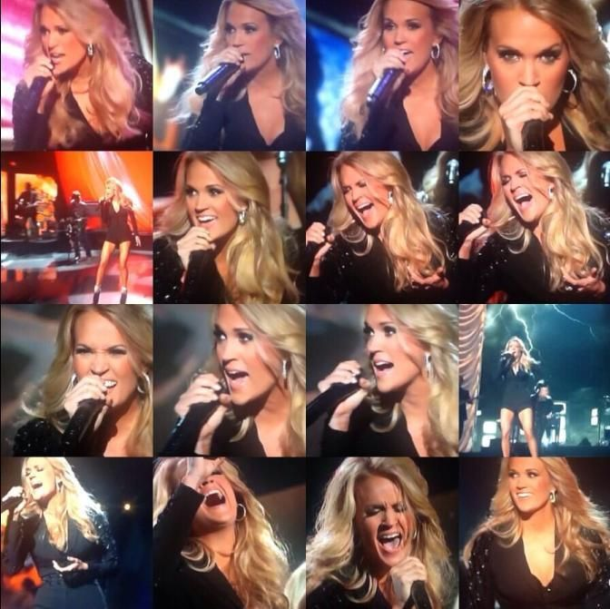 Carrie Underwood performing at the CMA Awards