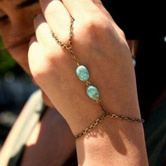 Cocodeal Pulsera de la turquesa de bronce retro de la moda-Verde