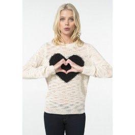 Ivory fuzzy black heart sweater