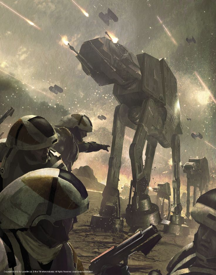 Rebel Forces under Imperial AT-AT assault.