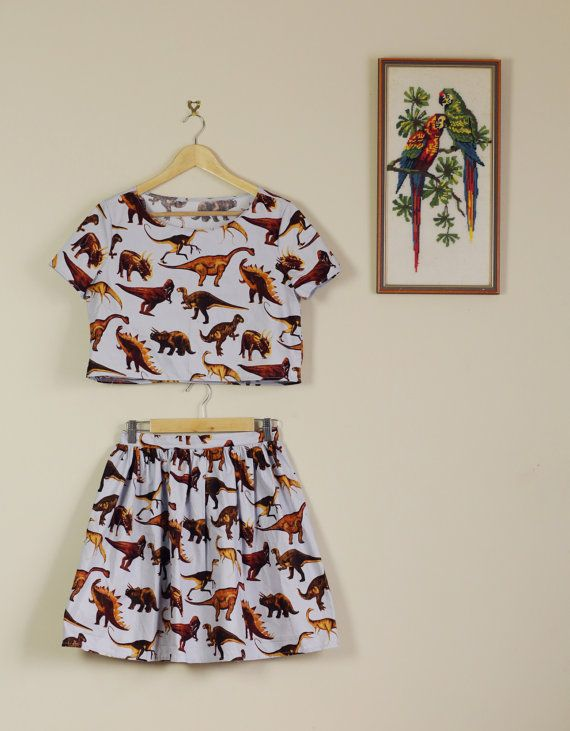 Blue Dinosaur Print Twin Set Crop and Skirt 90s Dino Fun Summer Festival Cute Lolita 60s 70s 80s matching set