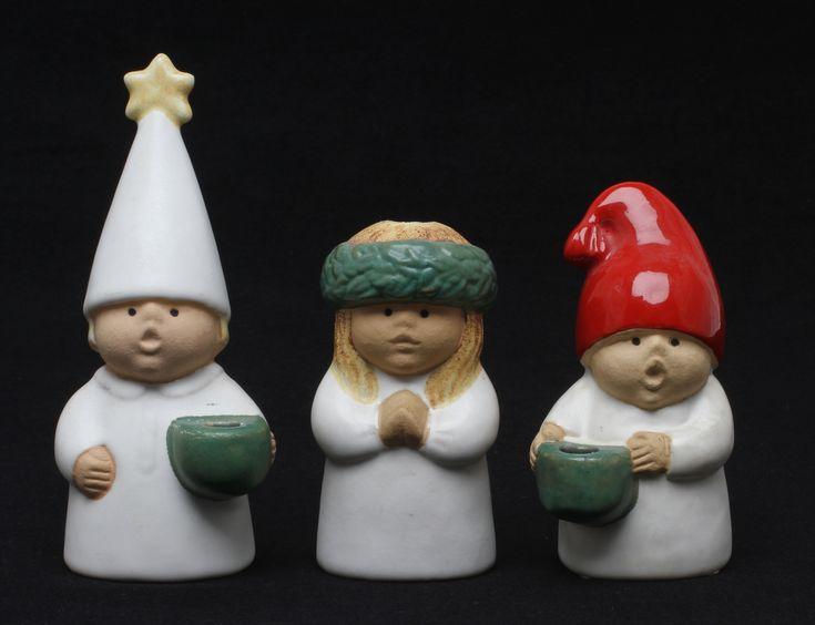 """95467. LJUSSTAKAR, 3 st, """"Advent"""", Lisa Larson, Gustavsberg."""