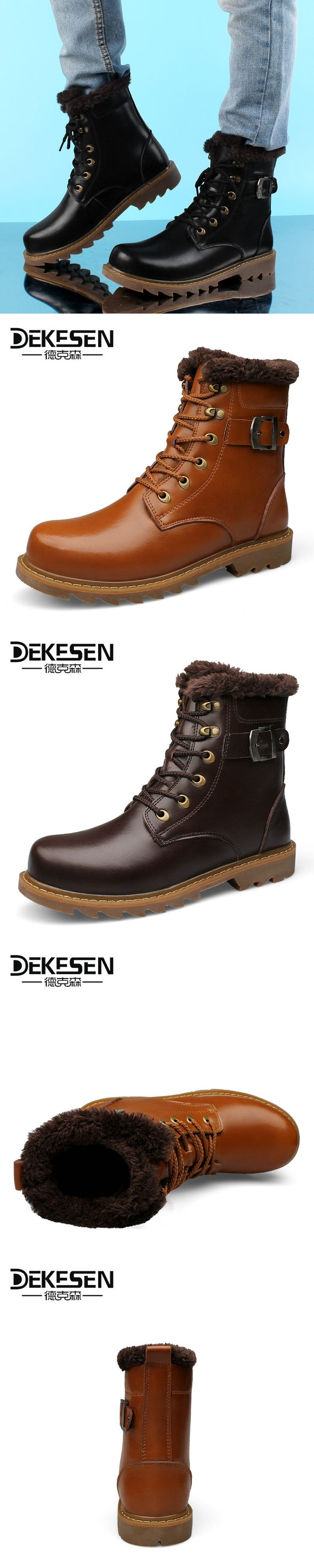 DEKESEN 2017 Men Boots for Russian, First Layer Cow Leather Shoes Man, winter Snow Ankle boots, Safety boots Men Plus size 6-12