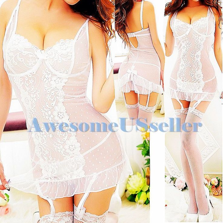 S-M Petites sexy WHITE lingerie HOT corset+G-string+garters+stocking NEW set#456