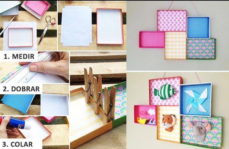 Passo a Passo super divertido para decoração do quarto da criançada.. Podemos usar caixas ou tampas de caixas de sapato para fazer quadrinhos criativos.. Se você gostou dessa ideia, curte a nossa foto para colocarmos mais dicas!! :D :*  www.palaciodaarte.com.br