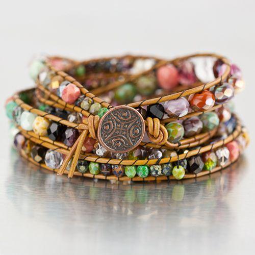DIY Bohemian Wrap Using Leather Cord & Crystal Beads