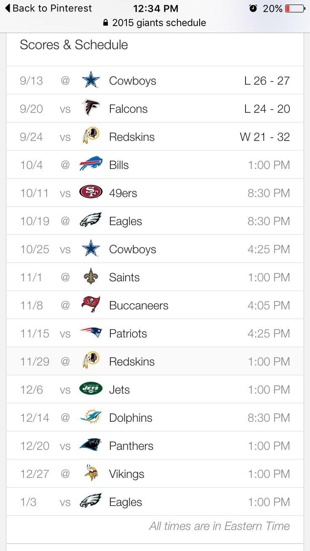 2015 NY Giants schedule