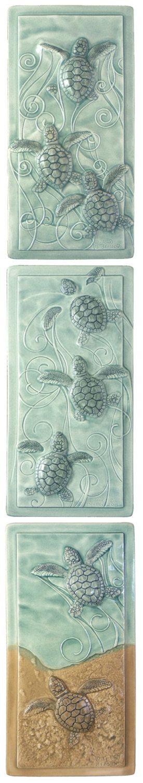 Ceramic tile, art tile, Magic Triptych, baby sea turtles, Loggerhead sea turtles by MedicineBluffStudio on Etsy