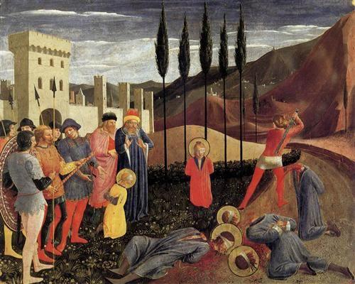 BEATO ANGELICO - Decollazione di San Cosma e San Damiano  - predella Pala di San Marco - tempera su tavola - 1438-40 - Galleria: Museo del Louvre, Parigi