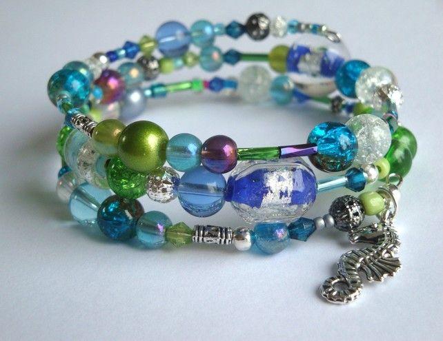 Seahorse Memory Wire Bracelet in Aqua Colours £6.95