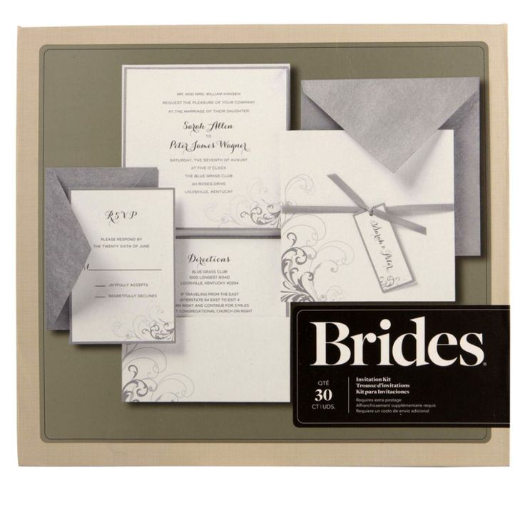 Brides Wedding Invitation Kit: Brides® Silver And White Pocket Invitation Kit