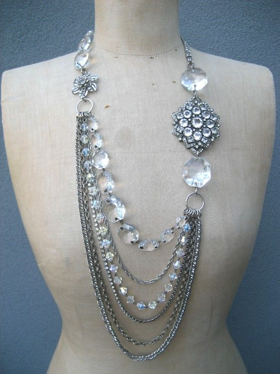 Vintage asymmetrical rhinestone and crystal necklace