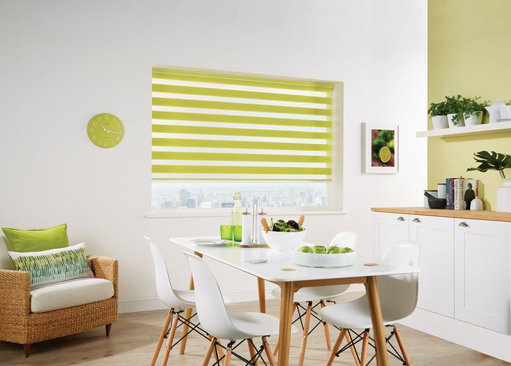 Vision® Blinds by Louvolite® Capri Colour - Paradise Green - open with transparency.